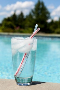 Glass of Water by swimming pool