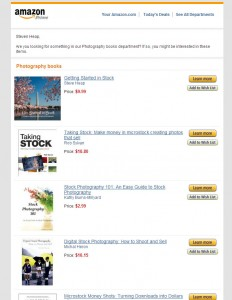 Amazon daily newsletter about best selling books in photography